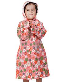 Babyhug Hooded Raincoat Economy Floral Print - Pink