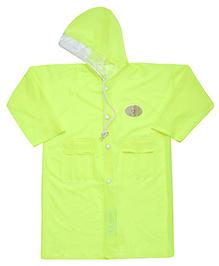 Babyhug Full Sleeves Galaxy Fluorescent Raincoat With Bag - Green