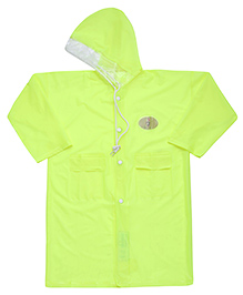 Babyhug Full Sleeves Galaxy Fluorescent Raincoat With Bag - Green