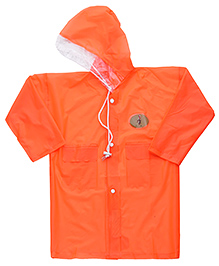 Babyhug Full Sleeves Galaxy Fluorescent Raincoat With Bag - Orange