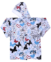 Babyhug Raincoat Butterfly Print - White