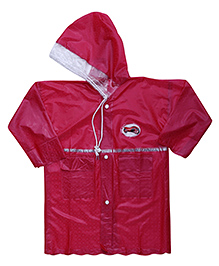 Babyhug Full Sleeves Crystal Raincoat - Red