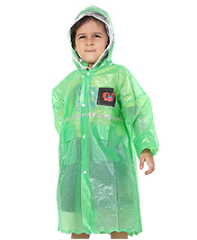 Babyhug Full Sleeves Crystal Raincoat - Green