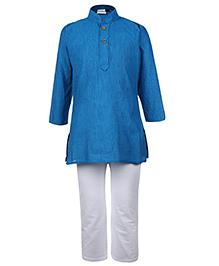 Babyhug Full Sleeves Kurta And Pajama Set - Turquoise And White