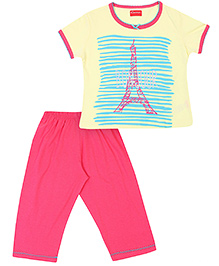 Kanvin Half Sleeves Night Suit Eiffel Tower Print Satin Bow - Yellow And Pink