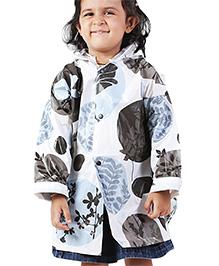 Babyhug Hooded Raincoat Leaves Print - Light Blue And Black