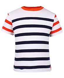 Nauti Nati Half Sleeves Striped T Shirt - White Navy And Orange