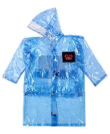 Babyhug Full Sleeves Clear Raincoat Butterflies Patch - Blue