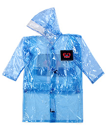 Babyhug Full Sleeves Clear Raincoat Butterflies Patch - Blue