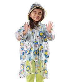 Babyhug Raincoat Smiling Flower Print - Blue And Yellow