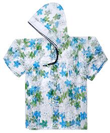 Babyhug Raincoat Flower Print - Blue And Green