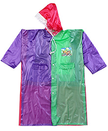 Babyhug Raincoat With Back Bag Cover - Green Cardinal And Purple
