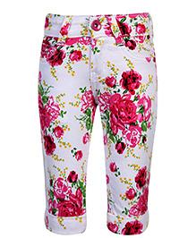 Babyhug Capri Floral Print - White And Pink