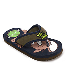 Tom and Jerry Flip Flops - Navy Blue And Olive