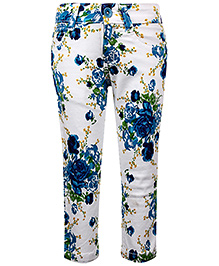 Babyhug Trouser Floral Print - White And Blue