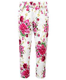 Babyhug Full Length Pant Floral Print - White And Pink