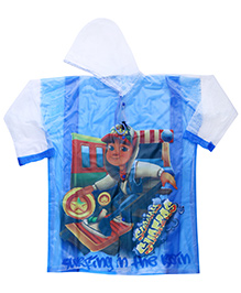Babyhug Raincoat Subway Surfers Print - Blue