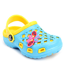 Cute Walk Clogs Butterfly Motif - Sky Blue And Yellow