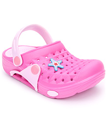 Cute Walk Clogs With Back Strap Star Fish Motif - Pink