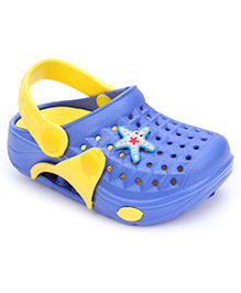 Cute Walk Clogs With Back Strap Star Fish Motif - Blue And Yellow