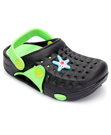 Cute Walk Clogs With Back Strap Star Fish Motif - Green And Black