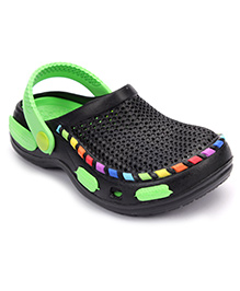 Cute Walk Clogs With Back Strap - Black And Light Green