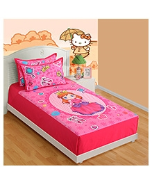 Swayam Digital Print Single Baby Bed Sheet With One Pillow Cover - Lil Princess