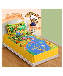 Swayam Digital Print Single Baby Bed Sheet With One Pillow Cover - Animal