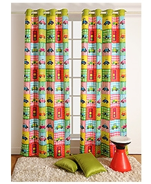 Swayam Digitally Printed Kids Door Curtain With Eyelets - Cars