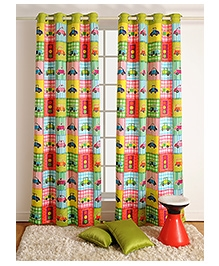 Swayam Digitally Printed Kids Window Curtain With Eyelets - Cars