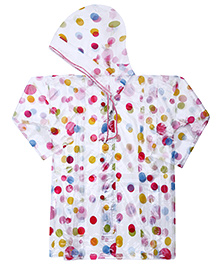 Babyhug Raincoat Polka Dots Print - Pink And Multicolour