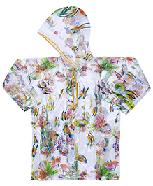 Babyhug Raincoat Fish Print - Multicolour