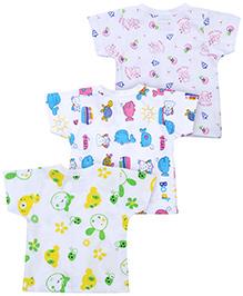 Babyhug Half Sleeves Vest Multi Print Set Of 3- White