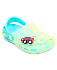 Cute Walk Baby Clogs With Back Strap Car Motif - Parrot Green And Sea Blue