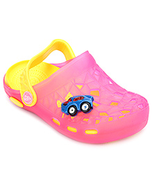 Cute Walk Baby Clogs With Back Strap Car Motif - Pink And Yellow