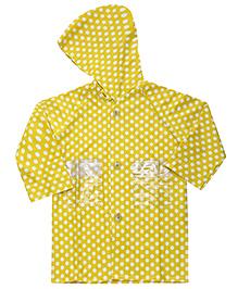 Babyhug Full Sleeves Raincoat Polka Dots - Yellow