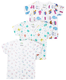 Babyhug Half Sleeves Vest Multi Print Set Of 3- White