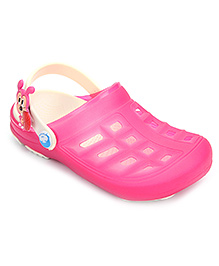 Cute Walk Clogs With Back Strap Animal Motif - Dark Pink And Cream