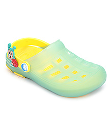 Cute Walk Clogs With Back Strap Animal Motif - Green And Yellow