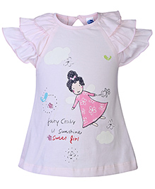 Teddy Short Sleeves Frock Fairy Print - Light Pink