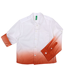United Colors of Benetton Full Sleeves Shirt Shaded Pattern - White And Brown