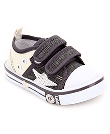 Cute Walk Casual Velcro Closure Shoes Star Embroidery - Grey