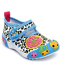 Cute Walk Casual Shoes With Velcro Closure Butterfly Motif - Blue