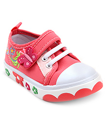 Cute Walk Casual Shoes With Velcro Closure Butterfly Motif - Pink
