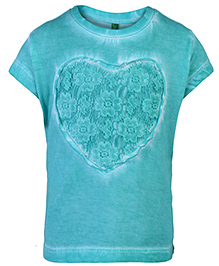United Colors of Benetton Half Sleeve Top Heart Print - Teal