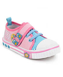 Cute Walk Casual Shoes With Velcro Closure Butterfly Motif - Light Pink