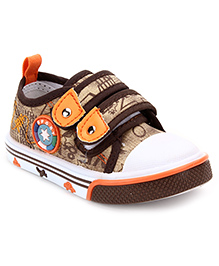 Cute Walk Casual Shoes With Velcro Closure Star Motif - Coffee Brown And White