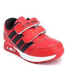 Cute Walk Sport Shoes Dual Velcro Closure - Red