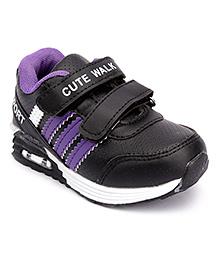 Cute Walk Sport Shoes Dual Velcro Closure - Black