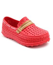 Cute Walk Clog Shoes Ventilated Hole Design - Dark Pink